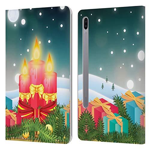 Head Case Designs Geschenke Urlaub Kerzen Leder Brieftaschen Huelle kompatibel mit Samsung Galaxy Tab S6 (2019)