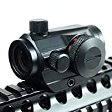 IRON JIA'S Tactical Holographic Micro T-1 1X24 Red & Green Dot Scope Riflescope Black with Riser Mount Rifle Hunting (Low Rail)