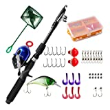 DragonSport Kids Fishing Pole, Spincast Youth Fishing Pole, Tackle Box - with Net,Travel Bag,Rod and Reel Kit for Boys, Girls, Youth or Beginner's(Black)