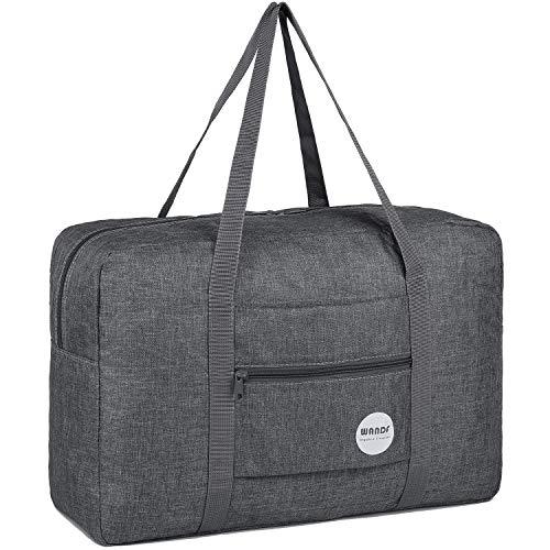 WANDF Leichter Faltbare Reise-Gepäck Handgepäck Duffel Taschen Übernachtung Taschen/Sporttasche für Reisen Sport Gym Urlaub Weekender handgepaeck (A - Grau)