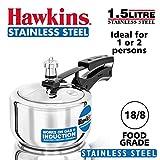 Hawkins Stainless Steel Pressure Cooker, 1.5 Liter, Silver
