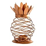 Pineapple Candle Lantern – Decorative Lantern – Tea Light or Pillar Candle Holder – Copper, Rose Gold, or Black Finish Lantern Decor for Party, Spa, or Home Decoration (Copper)