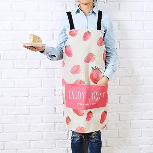 YXDZ Frische Baumwolle Leinen Kunst Ärmellose Paar Schürze Männer Und Frauen Mode Kochen Taille Küchenschürze wasserdichte Arbeitsschürze Erdbeere 92 * 92Cm