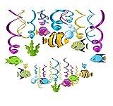 30 guirnaldas colgantes de peces tropicales para decoración de animales marinos en espiral para niños y niñas, accesorios de fiesta de cumpleaños para fiestas de bebé