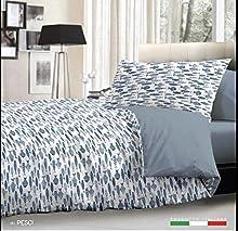 L'EMPORIO CASA Juego completo de sábanas con diseño de peces, color azul, para cama de matrimonio – Sábana muy suave 100% puro algodón italiano
