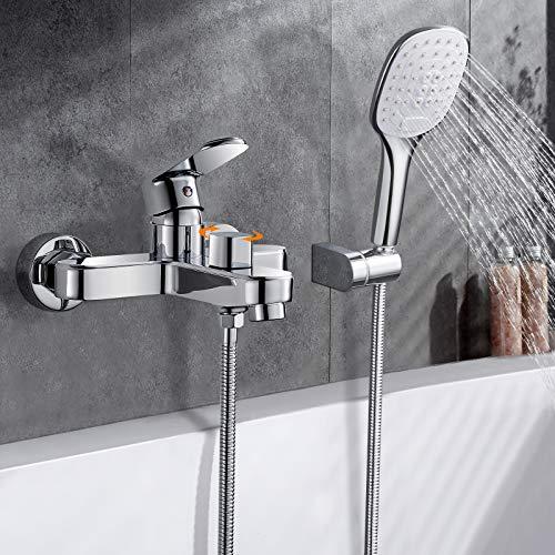 Wasserfall Badewannenarmatur mit Handbrause, WOOHSE Badewanne Wasserhahn mit 3 Strahlarten Wannenarmatur Wannenbatterie mit Umsteller Aufputz Einhebel Armatur Mischbatterie mit 1,5m Duschschlauch
