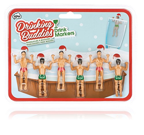 NPW Drinking Buddies Cocktail/Wine Drink Markers, 6-Count, Holiday