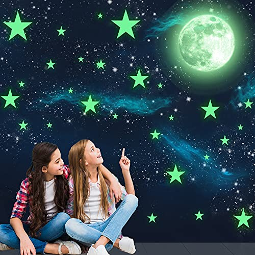 HORIECHALY Glow in The Dark Stars Wall Stickers, 221 Adhesive Bright and...