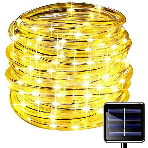 picK-me Luces de Cuerda Solar, Impermeable al Aire Libre 100 LED 33 FT / 10 M, Luces de hadas, Tubo de Luz de PVC para La Fiesta de Boda del Arbol de La Cerca del Jardín (Blanco cálido, 10M)