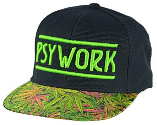 PSYWORK Schwarzlicht Black Cap Neon Funky Weed, Grün