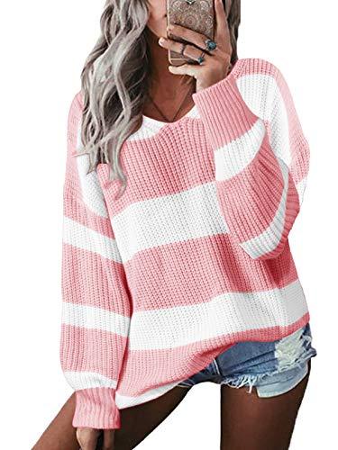 YOINS Pullover Damen Streifen Sweatshirt Oberteile Strickpullover Farbblock Sweater V-Ausschnitt Jumper Langarmshirts Tops Hemd Shirt Pink XL