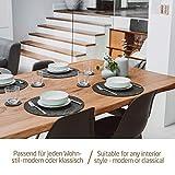 Miqio® Design Runde Tischsets aus Filz abwaschbar | Mit Marken Echtleder Label und Glasuntersetzer | 6 Platzsets 6 Untersetzer | Filzmatte Platzdeckchen abwschbari - 4