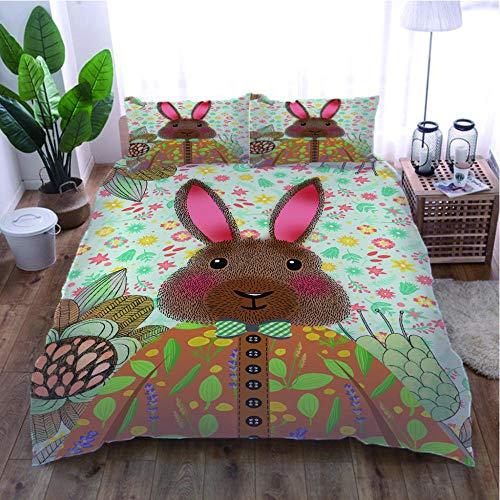 ZJJXM Kids Printed Duvet Cover Set Rabbit(260x220cm)