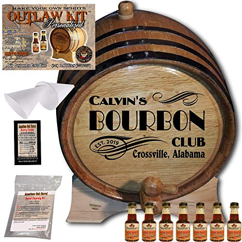 Personalized Whiskey Making Kit (202) - Create Your Own Spiced Bourbon Whiskey - The Outlaw Kit from Skeeter's Reserve Outlaw Gear - MADE BY American Oak Barrel - (Oak, Black Hoops, 5 Liter)