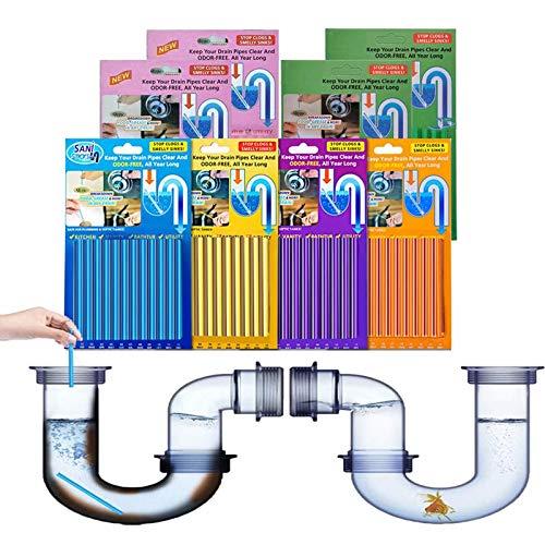 Drain Cleaner Sticks - 96 Stück Rohrreiniger Abflussreiniger Stäbchen, Stoppe stinkende & verstopfte Abflüsse, Enzymreiniger für verstopfte Rohre in WC Toilette, Bad, Dusche und Küche