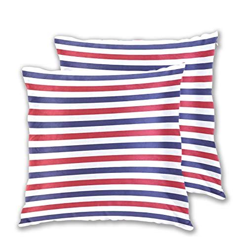 Emoya Juego de 2 fundas de cojín decorativas, diseño de rayas, color rojo, blanco, azul, cuadrado, para sofá, dormitorio, 50 x 50 cm