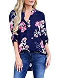 Bbalizko Womens V Neck Floral Tops 3/4 Sleeve Loose Lightweight Casual Blouses Blue