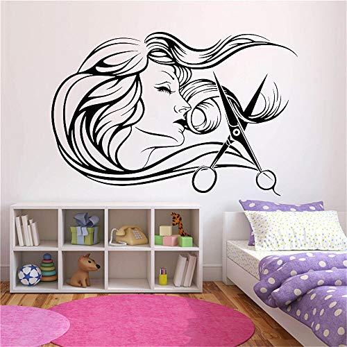 AKmene Salone di Parrucchiere Femminile Decalcomanie della Parete Negozio di Barbiere Parrucchiere Strumenti Forbici Adesivi murali Parrucchiere 57x38cm