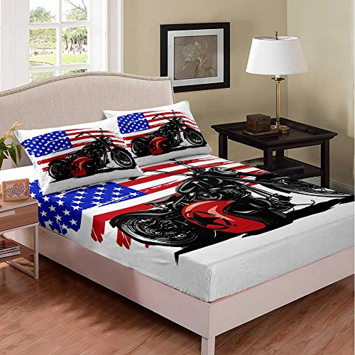 BMX American Bed Sheet Kids Boys Girls Twin White Cool Bedding Set Modern Flag Motorcycle Chic Bed Cover Decorative Bed Sheet Set Bed Covers Bedclothes 2Pcs Bedclothes