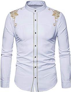 Yvelands Camisa de Bordado de los Hombres, Hombres cómodos