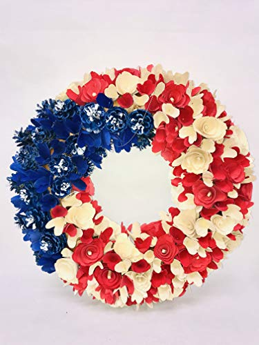'N/A' 18' Patriotic Woodchip Wreath - Red, White, Blue