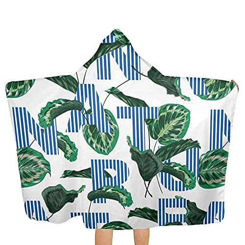 Bingyingne Toalla de Playa de Hoja Verde con Letras nórdicas con Capucha, Toalla de Playa de baño con Capucha para niños, niñas y niños, Poncho de Toalla Suave y súper Absorbente con diseño Lindo