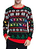 uideazone Men Women Merry Christmas Snowflakes Print Ugly Christmas Sweater, Black6, Large