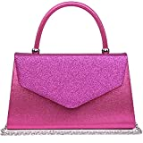 Dasein Women's Evening Bags Formal Party Clutches Wedding Purses Cocktail Prom Handbags with Frosted Glittering (Hot Pink)