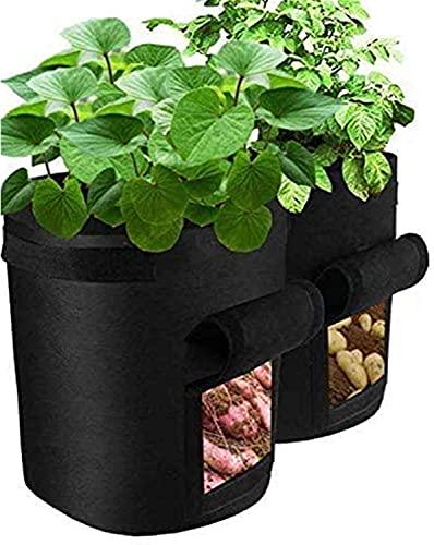 LLKK Paquete de 2 Bolsas de Cultivo de Patatas,Cama de Bolsas de Cultivo de Plantas de jardinería,Cajas de jardín,macetero de Tomate,Zanahoria