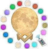WZTO Lampara Luna 15 cm, 16 Colores Luz de Noche en 3D Control Táctil Brillo con Puerto de Carga USB, Decoración para Casa, Habitación, Regalo para Cumpleaños, Año Nuevo y Aniversario