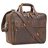 Texbo Retro Italian Leather Briefcase for Men 15.6' Laptop Messenger Bag Attaché Case Fit Business Travel
