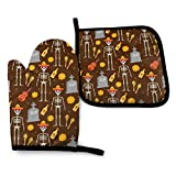 yuhuandadi 2 Pieces Oven Gloves and Pot Holder Day of The Dead Holiday Mexico Pattern Waterproof Kitchen Oven Mitts Heat Resistant Pot Pad for BBQ Cooking Baking Grilling