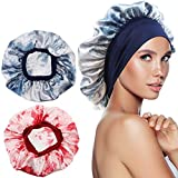 QMSILR Satin Bonnet Head Scarf Cap for Women Silk Bonnet for Night Sleeping Adjustable Hair Care Elastic Wide Band Hat Head Cover for Natural Long Hair Curly Hair 2 Pack (Red, Blue)
