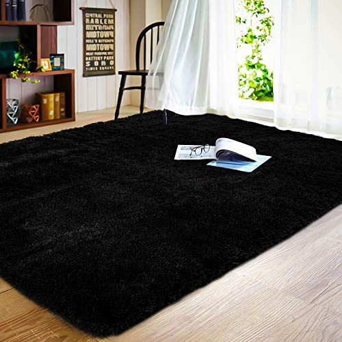 JOYFEEL Soft Bedroom Rugs - 4'x6' Black Modern Indoor Shaggy Fur Area Floor Rugs Fluffy Plush Living Room Carpets Home Decor Furry Fur Accent Rug for Man Boys Dorm Nursery Kids Room