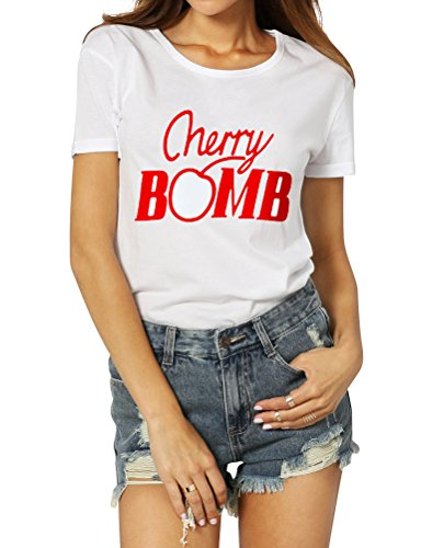 OUNAR Frauen Cherry Bomb Brief drucken Lässige Kurzarm Top T-Shirt