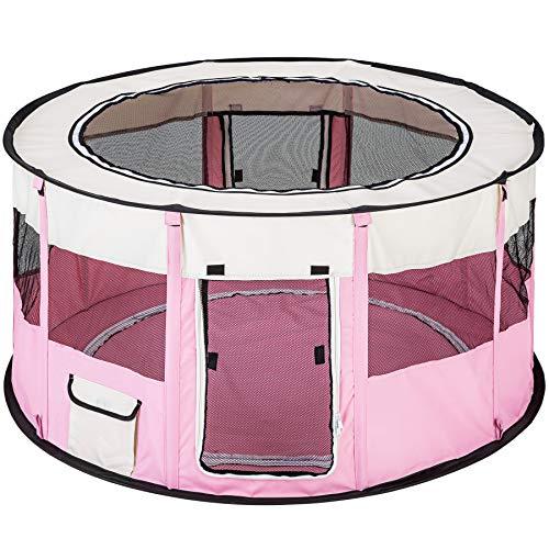 TecTake Box per cani cagnolini cuccioli e piccoli animali 114 x 60,5 cm (Ø x H) - disponibile in diversi colori - (Rosa | no. 402437)