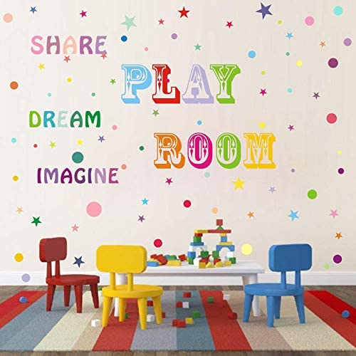Playroom Decal Share Imagine Dream in Rainbow Colors Children Wall Decal Playroom Decor Classroom product image