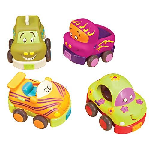 B. toys – Wheeee-ls – Set de 4 voitures à friction souples – Pour enfants de 1 an et plus