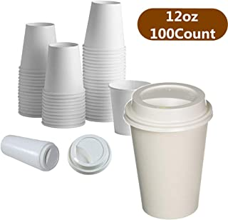 100 Pack 12 oz. White Paper Hot Cups with Lids Disposable To Go Coffee Beverages Cups Party Cups for Hot and Cold DrinksTravel Lids Party Cups for Hot and Cold Drinks