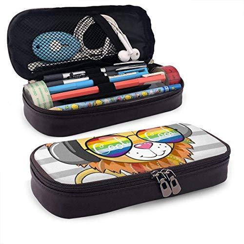 AOOEDM Lindo león con gafas de sol Cuero de la PU Estuche para lápices Estuche para bolígrafos Bolsa con cremallera Útiles escolares para estudiantes Monedero Estuche para maquillaje cosmético