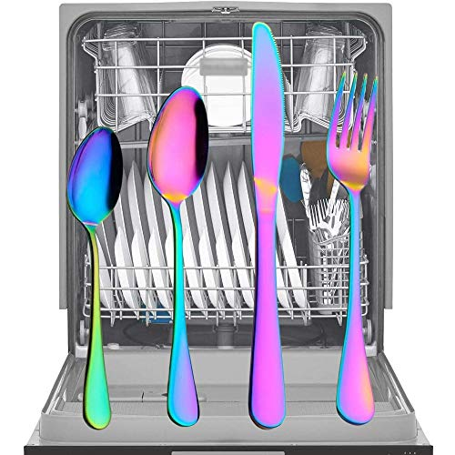 Stainless Steel Flatware Silverware Cutlery Set 24PCS Tableware Flatware Set Non-fading Cutlery Sets 18/10 Stainless Steel Dinnerware Rainbow Dinner Kitchen Home Wood Gift Box by GHJK