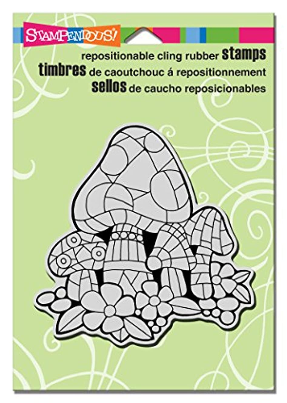 STAMPENDOUS Cling Rubber Stamp, Mosaic Mushrooms