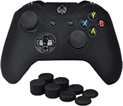 SKINOWN Xbox One Controller Skin Silicone Grip Case Anti-Slip Protective Grip Cover for Xbox One Controller with 8 Thumb Grips(Black)