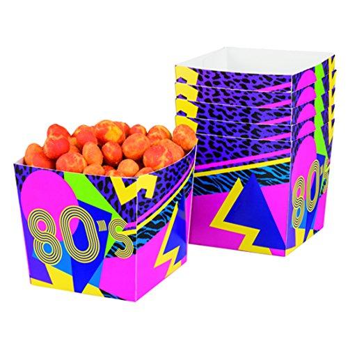 NET TOYS 6 Bols à Snack fête des années 80 - 40 cl | Mugs à Popcorn soirée à thème | Vaisselle à Usage Unique | Décoration de Table Disco