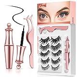 Magnetic Eyelashes with Eyeliner, 2020 Upgraded Lawimpe Mixed 3D Reusable False Eyelashes Kit and Magnetic Eyeliner Set with Applicator - No Glue Needed (5 Pairs)