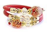 Venezia Classica – Pulsera de mujer con perlas de Murano, piel Toscana, colección DianaContrarie con hoja de oro de 24 quilates, fabricada en Italia rojo