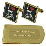 Me encanta mi bicicleta signo de tono Oro gemelos Money Clip grabado Set de regalo