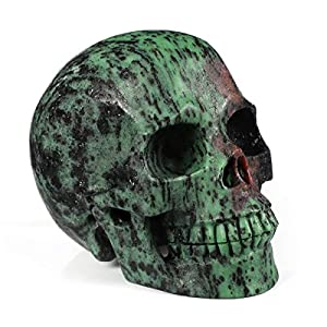 "5.0"" Ruby Zoisite Crystal Skull, Hand Carved"