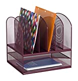 Safco Products Onyx Mesh 2 Tray/6 Sorter Desktop Organizer 3255WE, Wine Powder Coat Finish, Durable Steel Mesh Construction, Space-saving Functionality