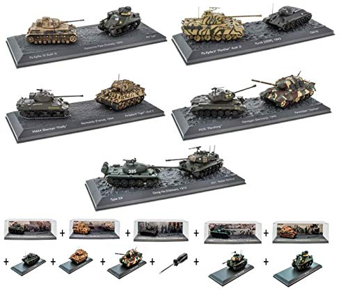 - Lotto di 6 Carri Armati Militari 1:72 World of Tanks: Panther + T3476 + Sherman + Tigre + Pershing + JADTIGER (OT1 + 2 + 3 + 4 + 5 + 6) (copie)